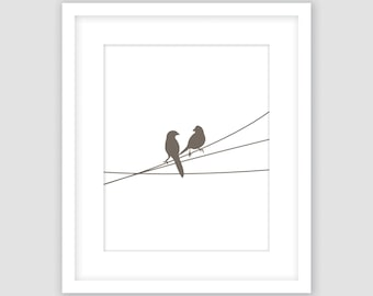 Birds on a Wire Print, White and Taupe Brown, Animal Wall Art, Modern Art, Instant Download, DIY, Printable