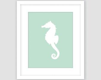 White Seahorse on Mint Green Print, Nautical Wall Art, Beach Decor, Modern Art, Instant Download, DIY, Printable