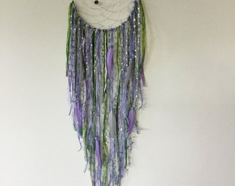 Lilac and Green Dreamcatcher - purple dream catcher, large dream catcher, purple dreamcatcher