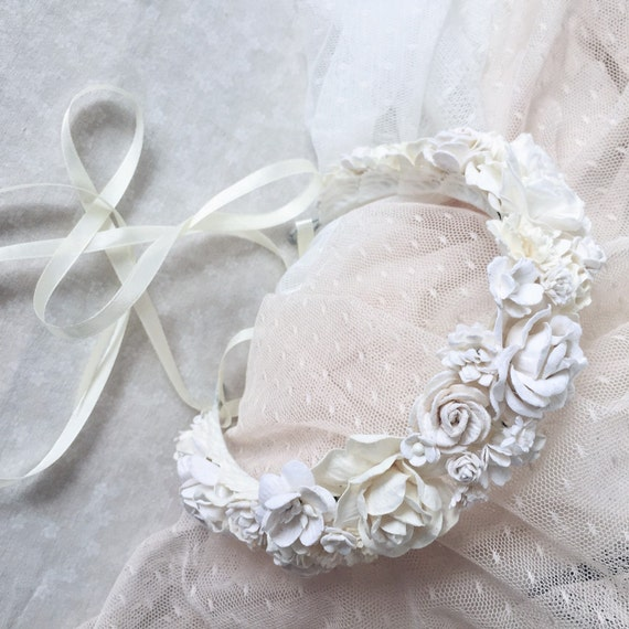 Wedding White Flower Crown: Floral Crown Bridal Flower Crown Wedding Flower Crown By