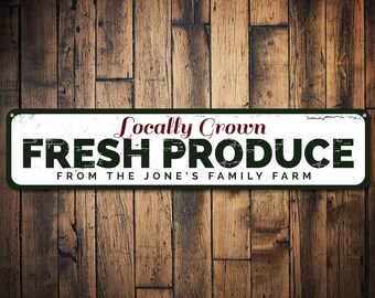 Fresh Produce Sign, Personalized Locally Grown Fruits & Vegetables Family Farm Last Name Metal Kitchen Decor - Quality Aluminum ENS1001392A