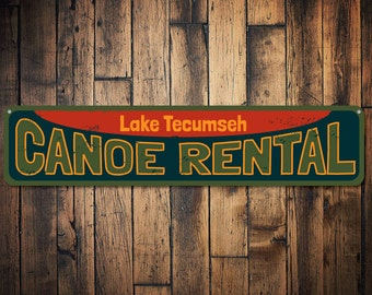 Canoe Rental Sign, Personalized Lake Name Sign, Lake House Sign, Custom Lake House Decor, Canoe Lover Gift - Quality Aluminum ENS1001097