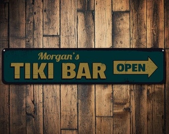 Tiki Bar Sign, Personalized Tiki Bar Arrow Sign, Open Sign, Beach Bar Sign, Custom Bar Sign, Bar Name Sign - Quality Aluminum ENS1001270