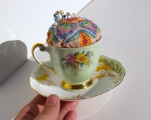 Tea Cup Pin Cushion, english porcelain tea cup with hand embroidered floral geometric embroidery, sewing pincushion, gift for her