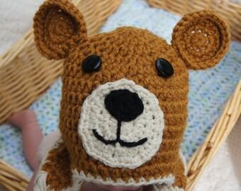 Newborn Bear Hat, Baby Bear Hat, Gender Neutral Bear Hat, BearHat, BearBeanie