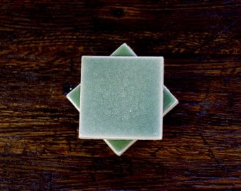 Raku Tile Coasters- Multiple Color Choices (set of 4)