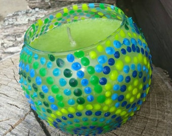 Green Coconut Palm scented 16 oz hand painted/hand poured round glass container candle