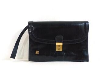 60s black leather wrist clutch, distressed envelope clutch bag, 1960s mad men purse evening bag gold metal hardware small minimalist handbag