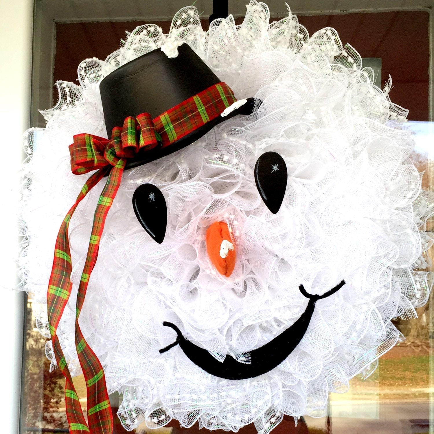 Whimsical FROSTY the SNOWMAN Snowman Deco Mesh by FancyWreathLady