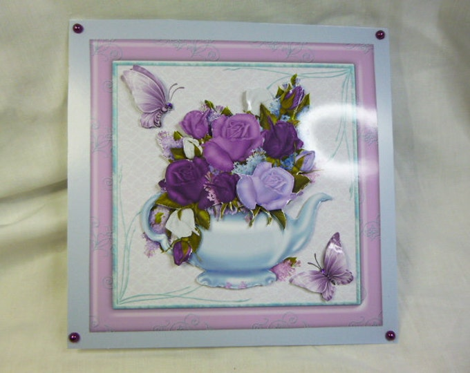 3 D Decoupage Card, Greeting Card, Birthday Card, Thank You Card, Any Occasion Card, Purple and Lilac Flowers and Butterflies, Mum, Daughter