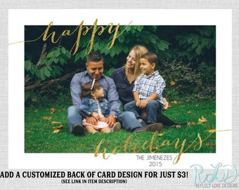 Holiday Photo Card Happy Holidays Gold Card Digital Printable File