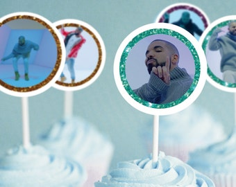 Drake Cupcake Toppers - Stickers - 1 3/4 inch - Instant Download Printable