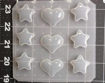 kawaii Heart Mold, Decoden Star Mold, Decoden Heart Mold, Kawaii Star Mold, Plastic Resin Mold, Jewelry Mold, Phone Case Supplies, Clay Mold