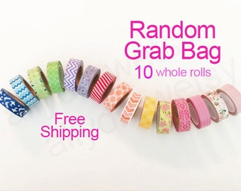 10 Random Washi Tape Grab Bag-Washi Tape Mystery Bag-Washi Tape Set-Washi Grab Bag-Washi Set-Free Shipping (10 random rolls)