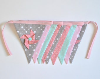 Pink, green, grey and white flags Garland