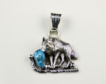 Native American Navajo Sterling Silver Turquoise Pendant By J. Saunders