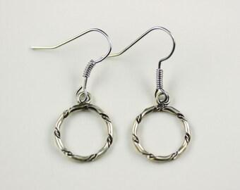 Navajo .925 Sterling Silver Hoop Dangle French Hook Earrings By Tsosie