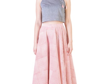 Grey Mangalgiri Crop Top with block printed skirt(Ans-1285 and Ans-1288)