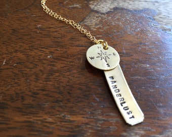 """Wanderlust Round Disc Necklace Layering Personalized Jewelry Hand Stamped Distressed Antiqued Finish Adjustable Sizes 14-24"""" Gifts under 20"""