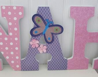 Pink and purple wooden nursery letters  // Butterflies & flowers // Personalized babygirl Nursery Décor // girls wooden Wall decor