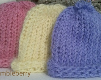 Angora knit hats  Super soft and stretchy pink, pale yellow, periwinkle Free Ship US Newborns, preemies, baby shower, gift, hand knit,