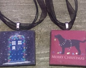 London Telephone Booth and Black Lab Christmas Necklaces