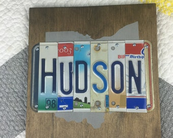 Ohio State Home Sign--License Plate Sign-- Custom Sign-- Last Name Sign-- Wedding Gift-- Custom Gift-- Anniversary Gift--Personalized Gift