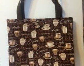 Quilted Coffee Print Tote Bag