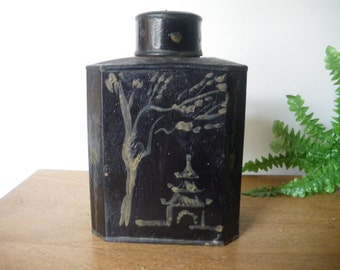 Antique chinese Toleware black (Tin?) Tea  box/ handpainted