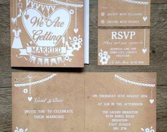 Papercut Collection, Wedding Stationery sample pack - including folded invitation and small RSVP card by Two Little Ducks