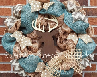 "Large 24""x24"" Faux Burlap Deer Hunting Wreath Cabin Decor"
