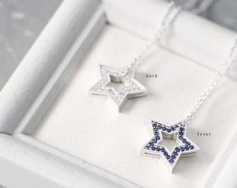 Reversible Star Necklace 925 Sterling Silver 2-way Galaxy Pendant