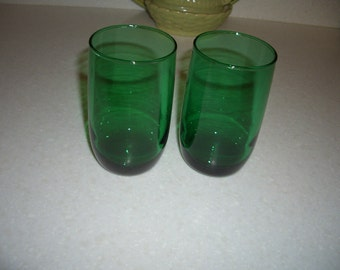 Two Anchor Hocking Forest Green Tumblers...4 1/4 inches...9 oz
