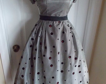 vintage 50s black gingham taffeta party dress red underskirt Polka Dot NWT Rockabilly