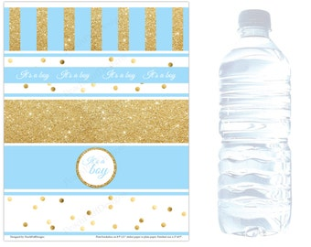 Baby shower water bottle labels (INSTANT DOWNLOAD) - Baby shower water labels - Blue and gold baby shower decorations BA006