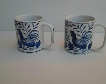 Vintage Gryphonware mugs / Stylized rooster pattern mugs