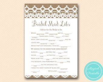 bridal mad libs, advice for the bride, Rustic, Burlap Lace Bridal Shower Game download, Bachelorette, Wedding Shower BS173