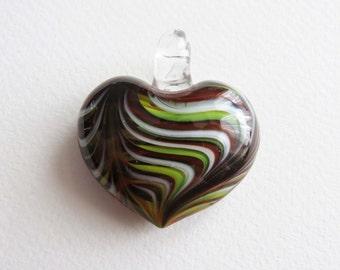 Glass Heart Pendant. Swirly Design.