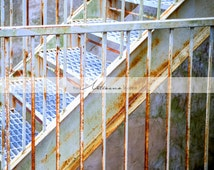 Rusted Stairway Old Pink White Rusty Metal Stairs- Printable Art - Digital Download - Instant Art - Fine Art Photography - Modern Art