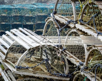 Lobster Traps Old and New - Printable Art - Nautical Coastal Fishing Photography - Digital Download - Instant Art - Canadian Photography