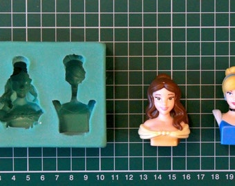 Bell And Cinderella Disney Silicone Mould / Cake Decorating Fondant / fimo mold