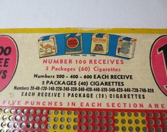 Cigarette Punchboard / Harlich Salesboard / 1930s