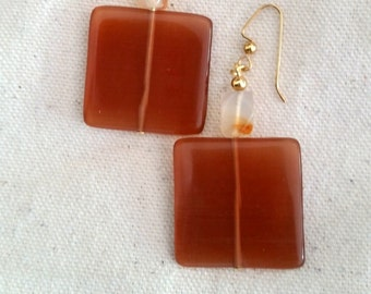 Carnelian and Glass Square Earrings