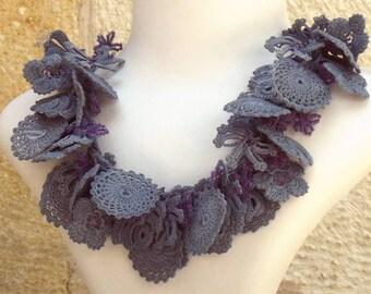 Turkish OYA Lace - Necklace - Bijou - Gray