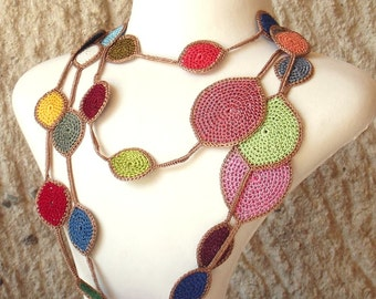 Turkish OYA Lace - Lariat necklace - Drop-Multi color