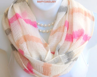 Striped Infinity Scarf. Cream with Pink,Peach & Gray Stripe Infinity Scarf.Pastel Colors Scarf.Spring Scarf.Summer Scarf.Summer Scarves