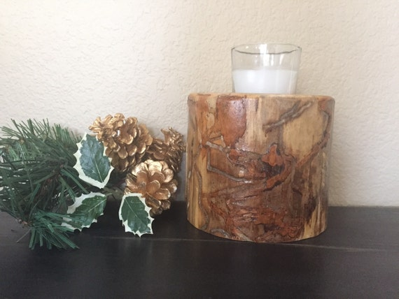 4 aspen wood candle holder rustic decor by for Aspen logs for decoration