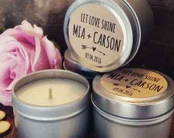 Let Love Shine Wedding Candle Favors / Soy candles / Rustic Style / Silver 2oz Tin/ weddings / baby showers /  wedding favours / events