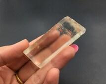 Optical Calcite Crystal Large Iceland Spar Rhomboid Viking Sunstone Natural Raw Golden Optical Ice Calcite Mineral Specimen CD-129
