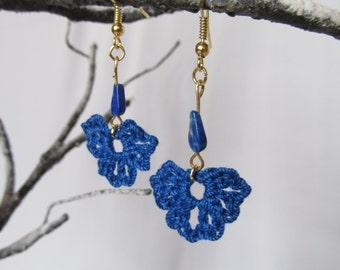 Lapiz Earrings - Crochet Earrings - Blue Earrings - Dangle Earrings - Pierced Earrings